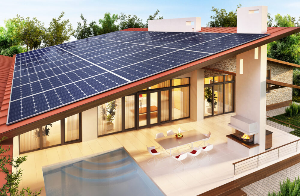 Solar,Panels,On,The,Roof,Of,The,Big,House.,3d