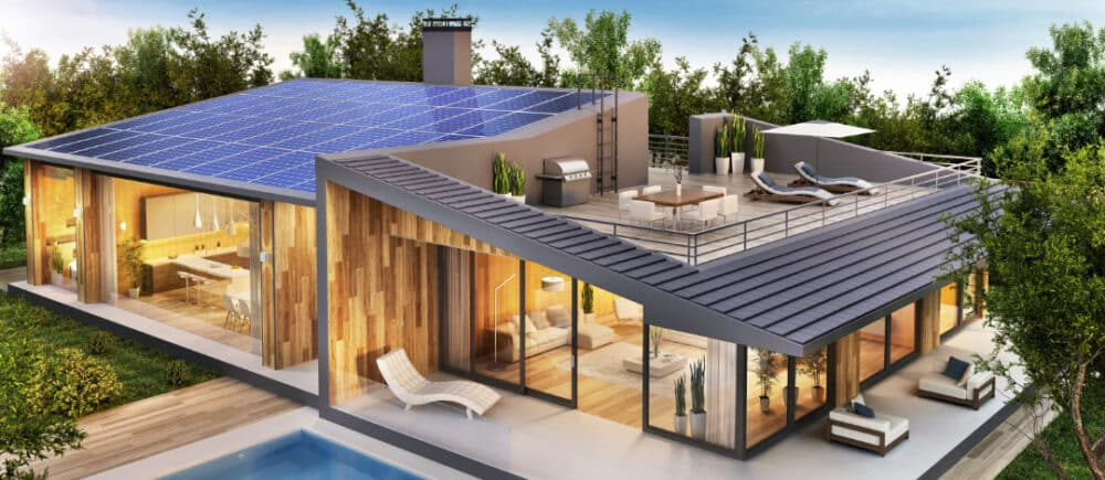 Beautiful,Country,House,With,Roof,Terrace,And,Solar,Panels.,Exterior